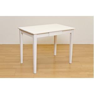 木製テーブル 【長方形 90cm×60cm】 引出し1杯付き ホワイトウォッシュ 木目調 〔リビング/ダイニング/作業台〕