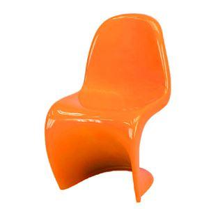 パントンチェア/リビングチェア 【オレンジ】 座面高:43cm FRP/強化プラスチック素材 【完成品】