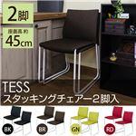 スタッキングチェア/ダイニングチェア 【同色2脚セット】 グリーン 『TESS』 張地:ファブリック生地 スチール脚 【完成品】