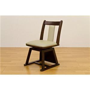 360度回転するダイニングこたつ用チェア/回転椅子 【2脚セット】 ブラウン 張地:合成皮革(合皮) 天然木フレーム