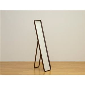 モダン スタンドミラー/全身姿見鏡 【ブラウン】 幅28cm 折りたたみ式 飛散防止フィルム付き 『JUKE』 〔リビング〕