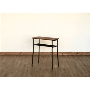 サイドテーブル/センターテーブル 【ウォールナット 幅48cm】 アジャスター スチール製脚 棚板付き 『Chico』