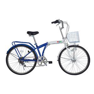 【ノーパンクタイヤ使用】TOY(トイ) 24インチ ノーパンク折り畳み自転車 ブルーホワイト MG-TY246N