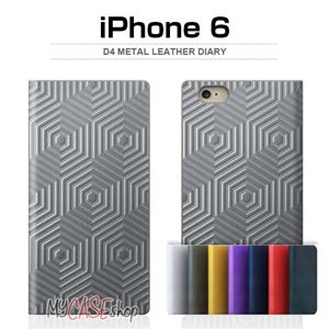 SLG Design iPhone6 D4 Metal Leather Diary シルバー