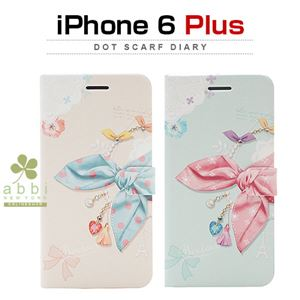 Happymori iPhone 6 Plus Dot Scarf Diary ピンクスカーフ