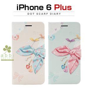 Happymori iPhone 6 Plus Dot Scarf Diary ブルースカーフ