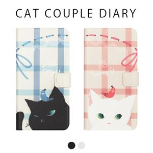 Happymori iPhone X Cat Couple Diary ホワイト