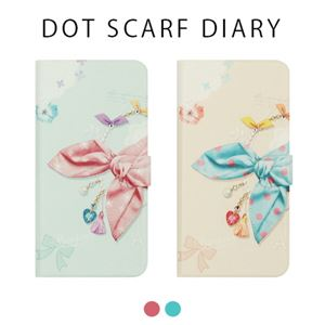 Happymori iPhone X Dot Scarf Diary ピンクスカーフ