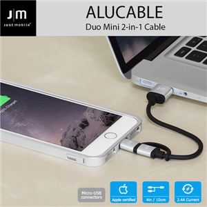 Just Mobile AluCable Duo mini 2-in-1 cable with Lightning & micro-USB connectors (4in/10cm)
