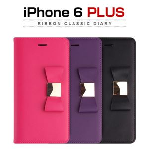 Layblock iPhone 6 Plus Ribbon Classic Diary ホットピンク