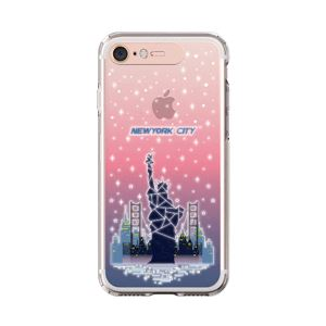 LIGHT UP CASE iPhone 8 / 7 Soft Lighting Clear Case Landmark New York A (ローズゴールド)
