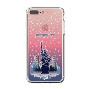 LIGHT UP CASE iPhone 8 Plus / 7 Plus Soft Lighting Clear Case Landmark New York A (ローズゴールド)