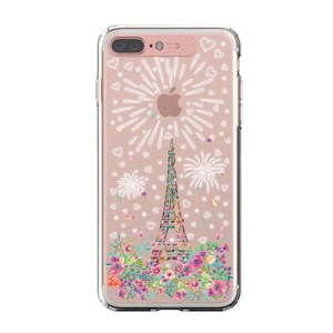 LIGHT UP CASE iPhone 8 Plus / 7 Plus Soft Lighting Clear Case Landmark Paris (ローズゴールド)