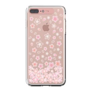 LIGHT UP CASE iPhone 8 Plus / 7Plus Soft Lighting Clear Case Flower CherryBlossom (ローズゴールド)