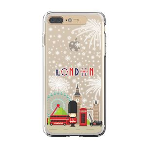 LIGHT UP CASE iPhone 8 Plus / 7Plus Soft Lighting Clear Case Landmark London(ゴールド)