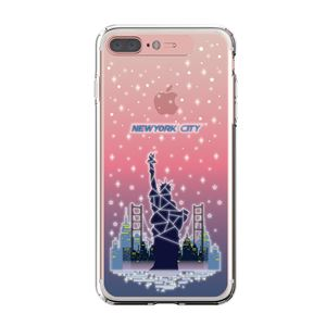 LIGHT UP CASE iPhone 8 Plus / 7Plus Soft Lighting Clear Case Landmark New York A (ローズゴールド)