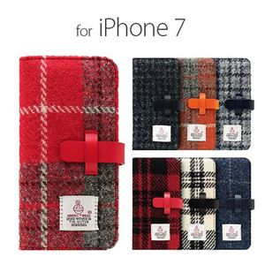 SLG Design iPhone 8/7 Harris Tweed Diary オレンジ×グレー