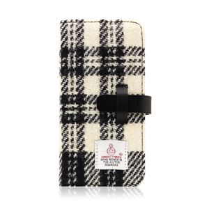 SLG Design iPhone 8/7 Harris Tweed Diary ホワイト×ブラック