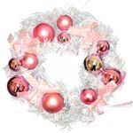 【クリスマス】リース ホワイトピンク 20cm