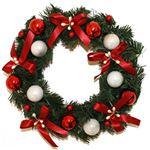 【クリスマス】リース レッドホワイトボール 25cm
