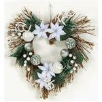 【クリスマス】ラタンストームリース ハートホワイト33cm