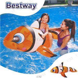 クマノミ型 フロート/浮き輪 【縦約148cm×横約84cm×高さ約68cm】 ポリ塩化ビニル Clown Fish Ride-on 〔プール ビーチ〕
