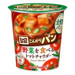【まとめ買い】ポッカサッポロ じっくりコトコト こんがりパン 野菜を食べるトマトチャウダー (カップ) 24.1g×18カップ(3ケース)
