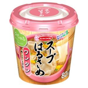 【まとめ買い】エースコック スープはるさめ ワンタン 23g×24カップ(6カップ×4ケース)