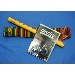 【CHECHO QUENA + DVD SET 】ペルーのケーナリスト'チェチョ'作 G管の竹製プロ用ケーナ+アワイヨ柄ケース+チェチョのライブDVD 3点セット★