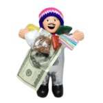 【エケコ人形19cm】 L サイズのエケコ人形・色はシルバー(銀色)(ペルー直輸入)