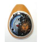 【民芸品】陶器のオカリナ大 1個 タイプ01【月柄】 南米ペルー製 陶器(セラミカ)