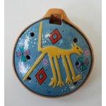 【民芸品】陶器のオカリナ大 1個 タイプ05【ナスカ地上絵・犬】 南米ペルー製 陶器(セラミカ)