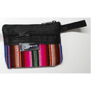 【ペルー民族織物・インカ柄・マンタ布】ミニポーチ コインケース 1個 小物入れ 約9x7cm アワイヨ柄 ペルー製