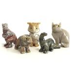 【ミニ動物 アニマルの置物5点セット】T04 天然石 ソープストーンのお守り 動物の形したミニチュア ハンドメイド彫刻 ペルー製