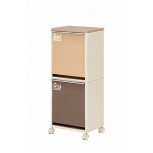 資源ゴミ分別ワゴンワイド2段 木天板 【ホーム&キッチン ゴミ箱】