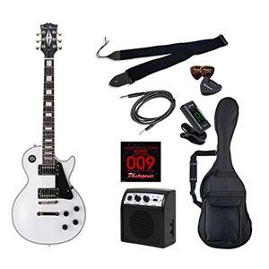 PG エレキギター 初心者入門ライトセット レスポールカスタムタイプ LP-300/WH ホワイト