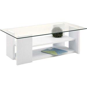 ローテーブル(強化ガラステーブル) 棚収納付き SO-100WH ホワイト(白)
