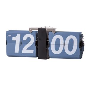 フリップクロック/デザイン時計 【ブルー】 掛け型・置き型対応 幅36cm×奥行8.5cm×高さ14cm CLK-118SBL