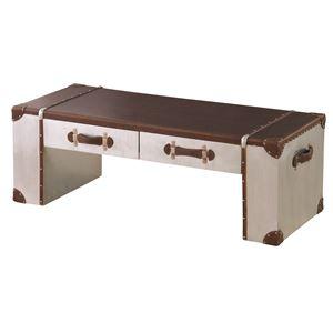 トランク型センターテーブル/ローテーブル 【幅120cm】 合成皮革/合皮使用 『ビサージ』 IW-115T