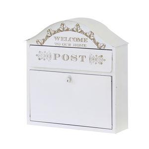 カントリー調郵便ポスト/郵便受け 【幅35.5cm×奥行12.5cm×高さ37cm】 スチール製 ホワイト(白) PST-812