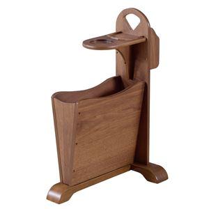 天然木サイドテーブル/ミニテーブル 【幅45cm×奥行30.5cm×高さ60cm】 木製 収納ラック付き 『トムテ』
