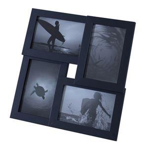 モダン フォトフレーム/写真立て 【マルチ型 ブラック】 幅30cm ガラス 〔リビング ダイニング 寝室 ベッドルーム〕