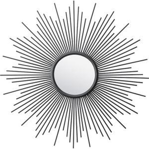 北欧風 姿見鏡/ウォールミラー 【ブラック】 幅80×奥行2.5×高さ80cm スチール 飛散防止 〔ベッドルーム ドレッサー 洗面台〕