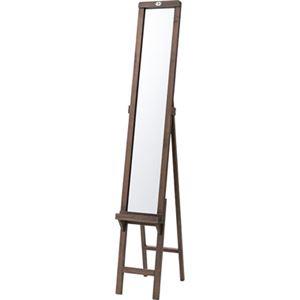 シンプル スタンドミラー/全身姿見鏡 【ブラウン】 幅23×奥行35.5×高さ146cm 木製 飛散防止 〔ベッドルーム 寝室〕