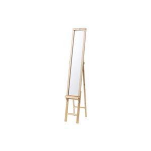 シンプル スタンドミラー/全身姿見鏡 【ナチュラル】 幅23×奥行35.5×高さ146cm 木製 飛散防止 〔ベッドルーム 寝室〕