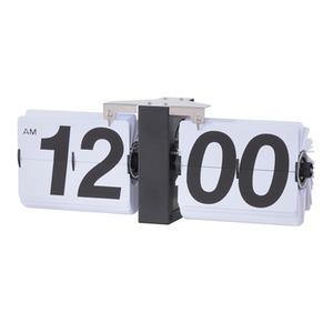 フリップクロック/時計 【幅36×奥行8.5×高さ14cm】 掛け・置き対応 スチーム 単1乾電池 〔リビング ベッドルーム〕