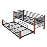 JKプラン 天然木デザイン親子ベッド IRI-0035-BKBR ブラック/ブラウン