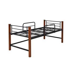 シングルベッド 高さ 60 木製 支柱 パイプベッド 天然木 頑丈 ミドル ロフトベッド  丈夫 ブラックブラウン IRI-1041-BKBR