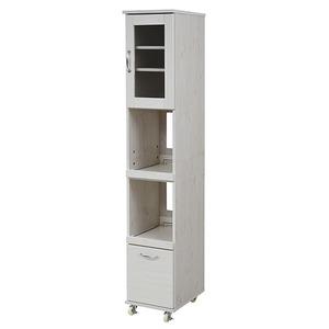 【レンジ台 隙間タイプ(ハイ) ホワイト FLL-0068-WH】 スリム キッチンラック キッチンワゴン 隙間タイプ 食器棚 レンジラック 幅 32.5cm 高さ180cm キッチン 収納 すきま収納 キャスター 棚 収納棚