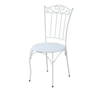 レトロ調 ダイニングチェア/食卓椅子 【ホワイト 幅60.5cm】 スチールフレーム 『ロートアイアンシリーズ』 〔リビング デスク〕